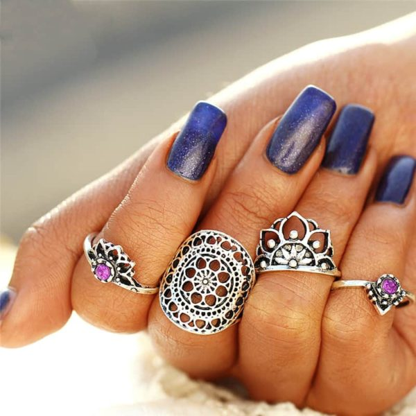 Set of 4 Boho Style Falange Ring