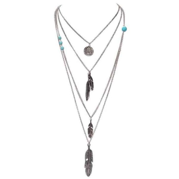 Boho Multilayer Antique Silver Necklace with Feather Pendant