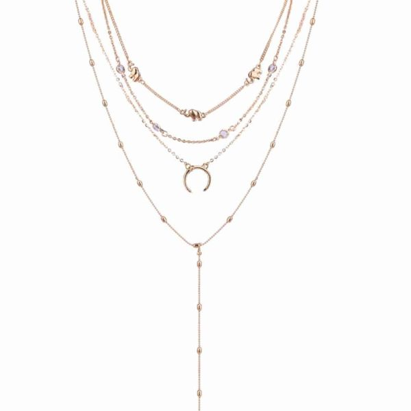 Women's Boho Multilayer Necklace with Moon Pendant