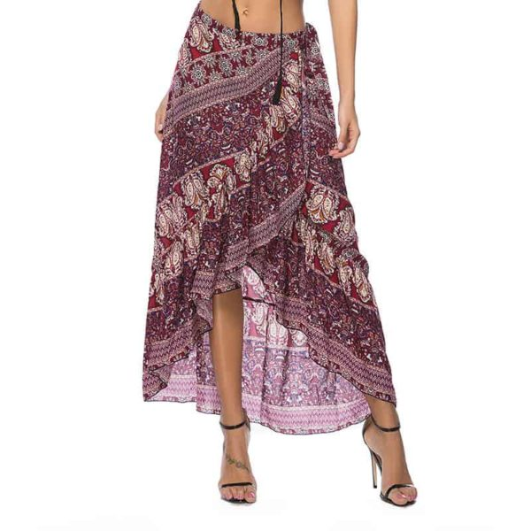 Irregular Boho-Styled Skirt with Floral Prints