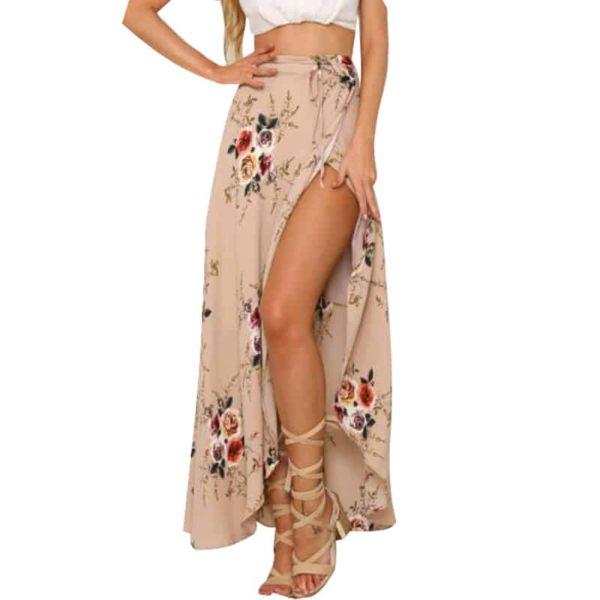 Irregular Boho-Styled Long Skirt with Floral Prints