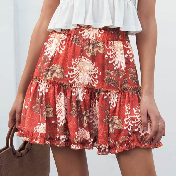 Simple Boho Style Summer Skirt with Floral Prints