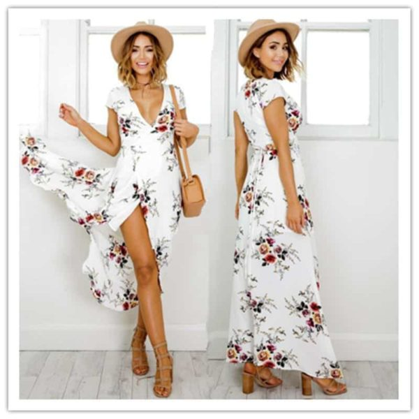 Women's Boho Style White Dress with Flower Printed