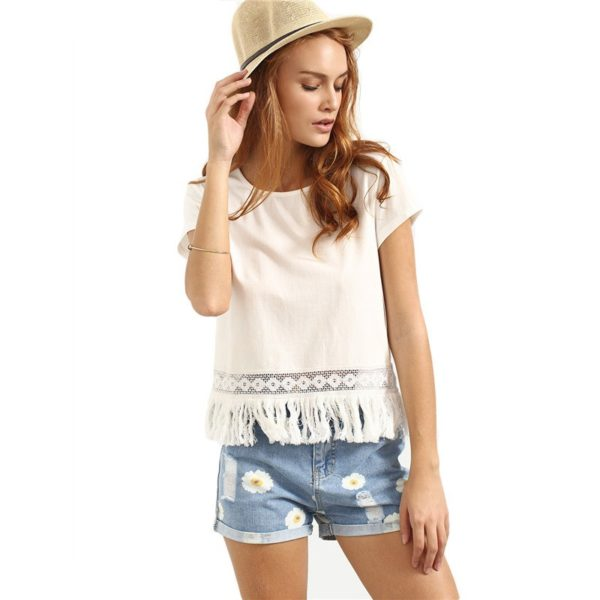 Boho Style Fringe-Decorated Women's T-Shirt