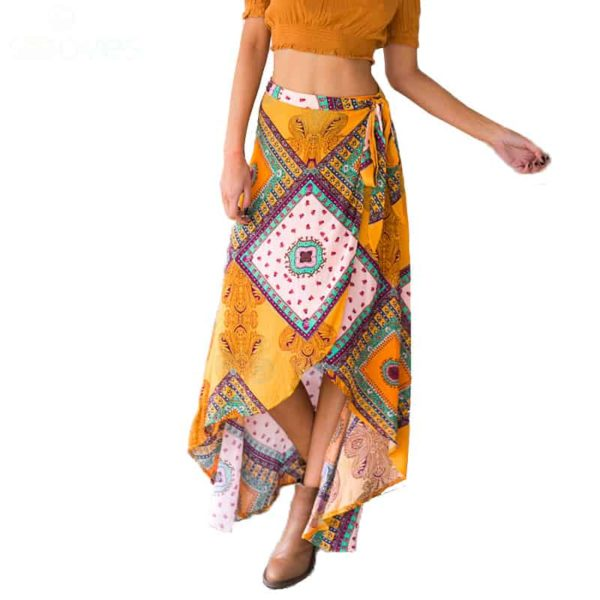 Long Boho Style Asymmetrical Wrap Skirt
