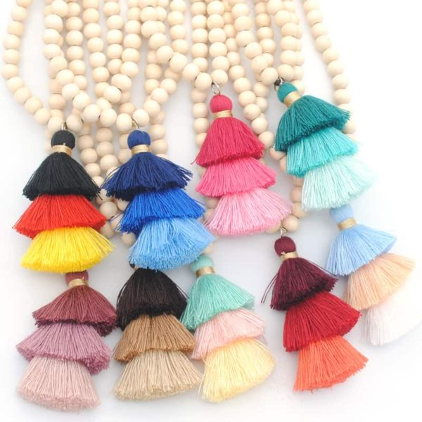 Boho Style Necklaces with Colorful Tassel Pendants