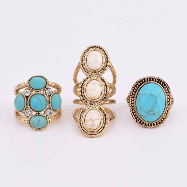 Fashion Boho Gold Plated Women's Rings Set