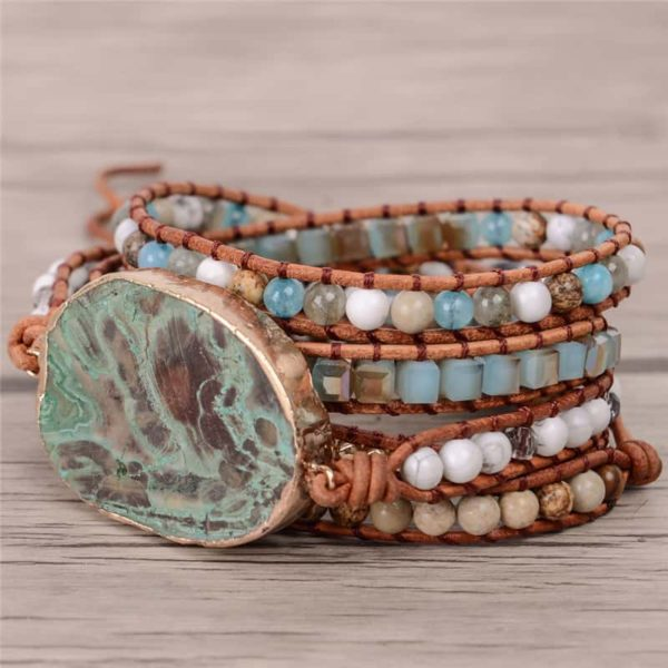 Bohemian Leather Beaded Huge Ocean Stone Bracelet