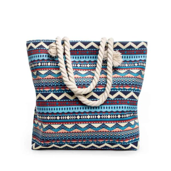 Summer Bohemian Striped Canvas Women's Beach Bag