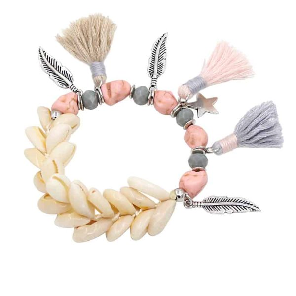 Cute Bohemian Beaded Shell Strand Bracelet