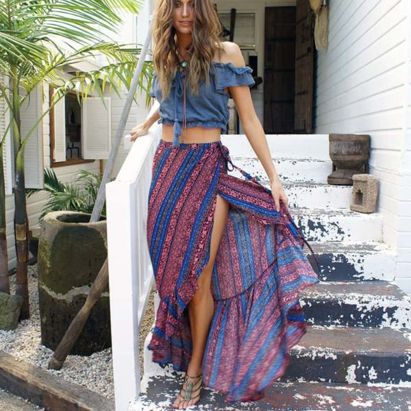 Women's Bohemian Printed Side-Slit Skirt