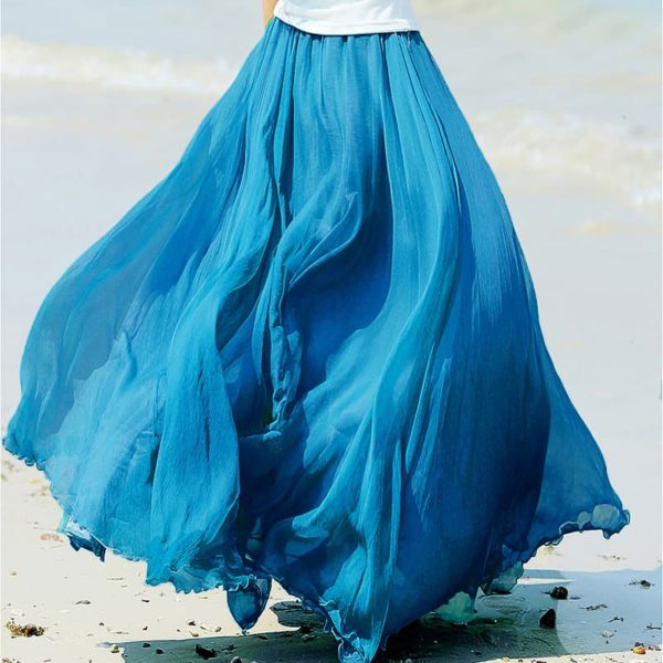 Women's Boho Chiffon Pleated Skirt