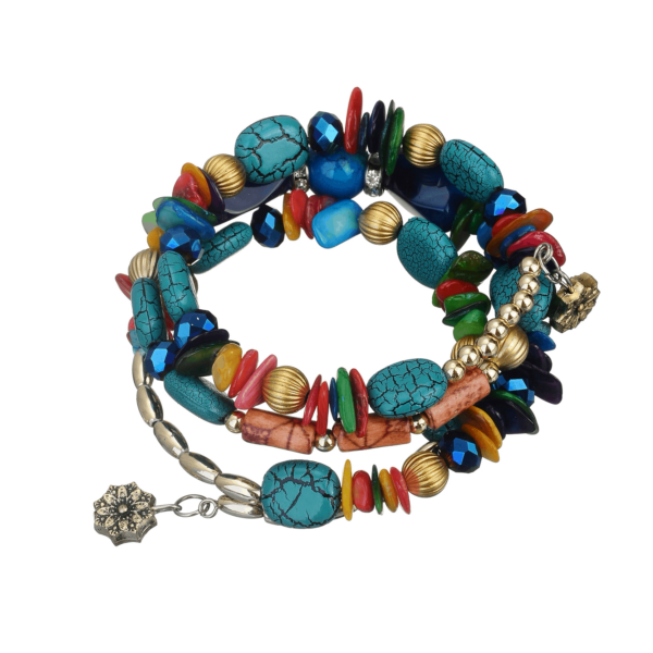 Luxury Bohemian Handmade Bright Natural Stone Wrap Bracelet