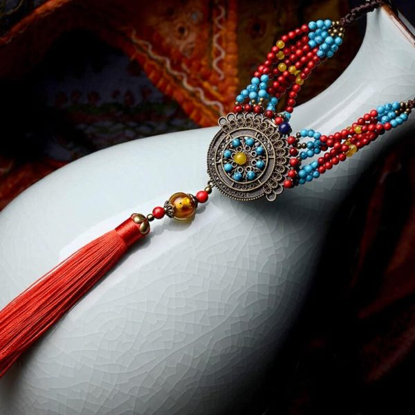 Red Tassel & Turquoise Bohemian Necklace