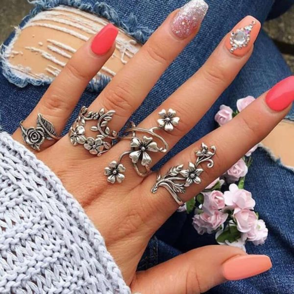 4Pcs Vintage Knuckle Boho Rings
