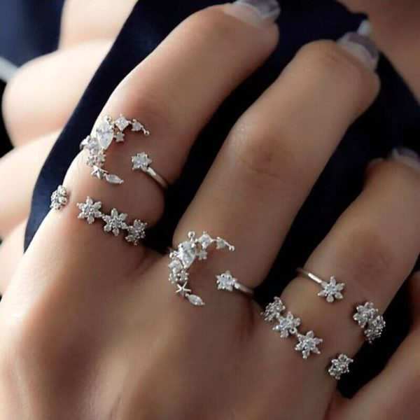 5Pcs/set Moon Star Crystal Boho Rings